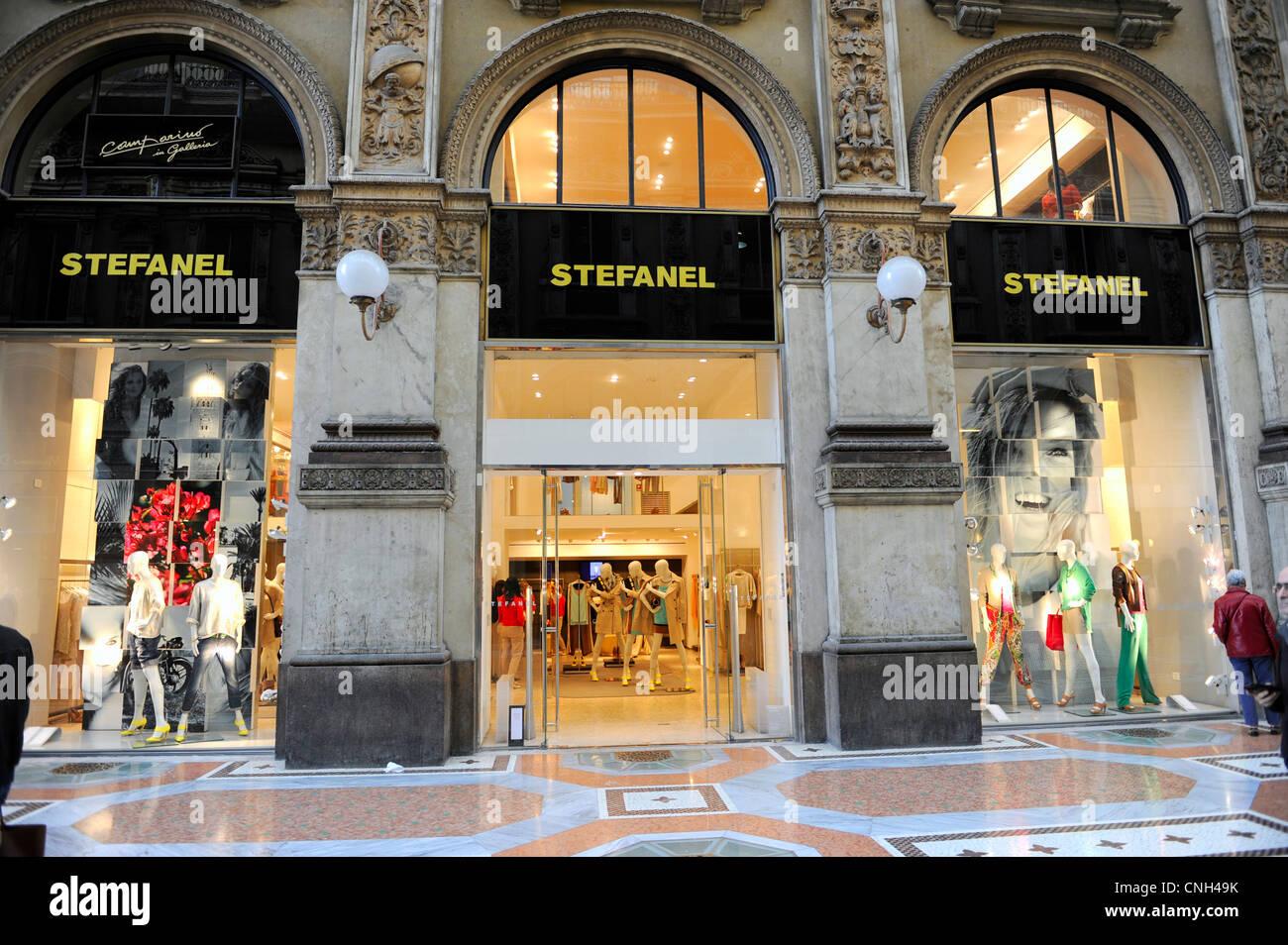 Stefanel shop. Galleria Vittorio Emanuele II. Milano, Italy - Stock Image