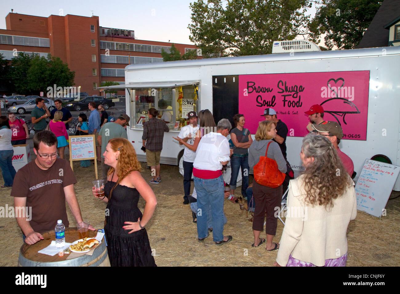 Food truck rally in Boise, Idaho, USA. - Stock Image