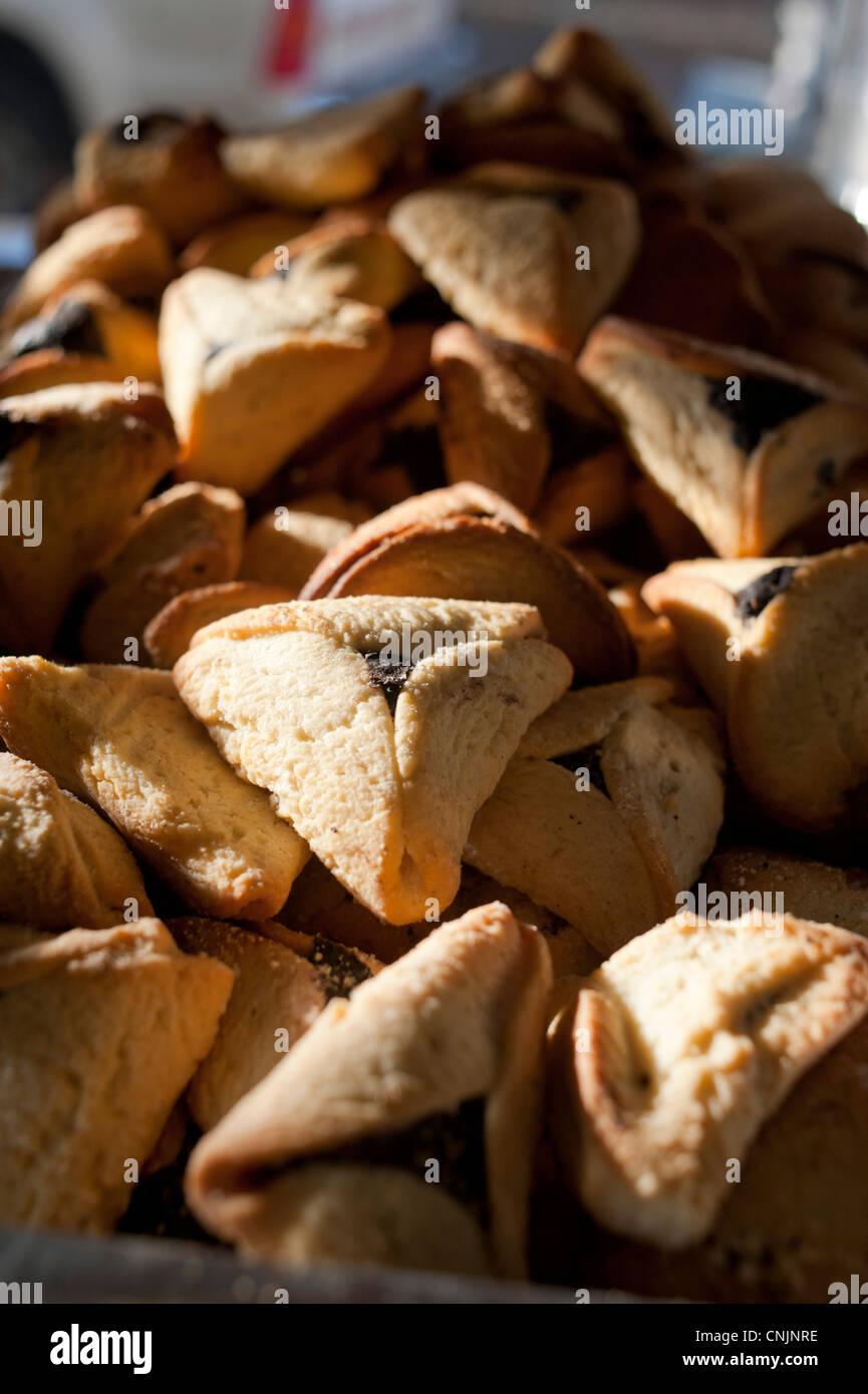 Middle eastern foods Israel Jaffa - Hamantashen or Hamantash Stock Photo
