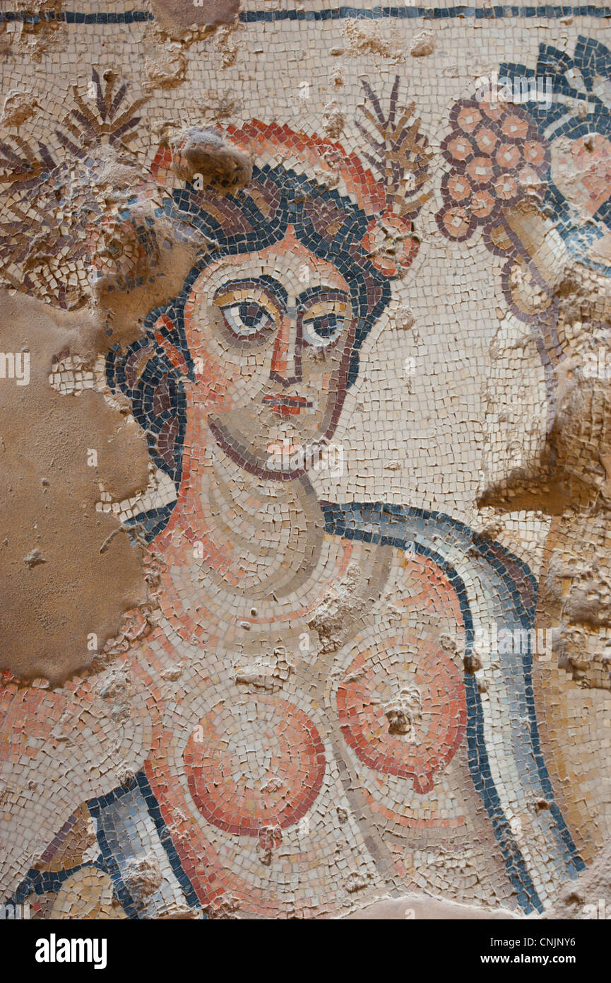 Middle East Israel Lower Galilee - Zippori National Park mosaic woman Byzantine and Roman House Stock Photo