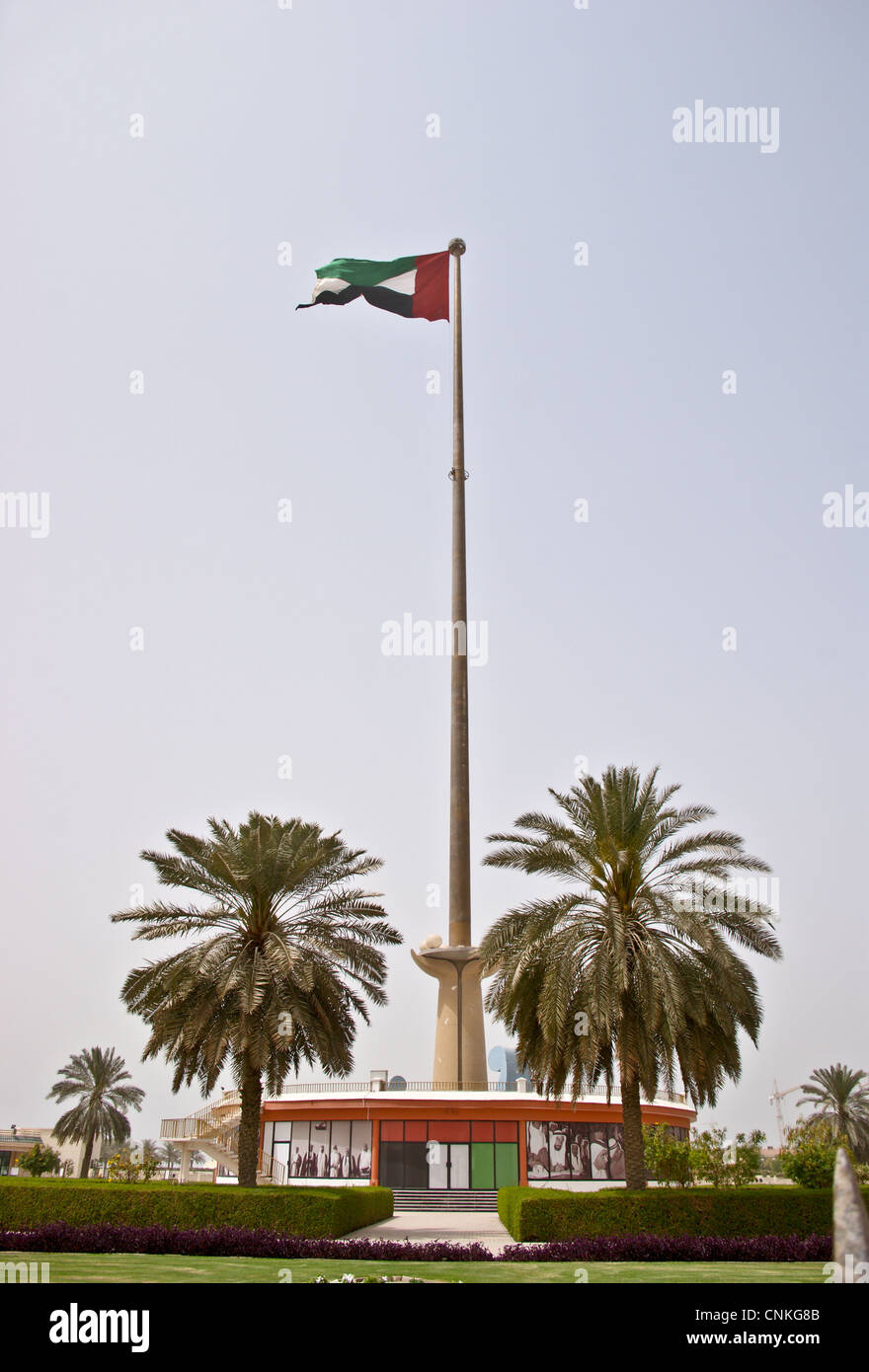 UAE national flag on 400 foot flagpole on Union House, Jumeirah Road, Dubai, United Arab Emirates Stock Photo