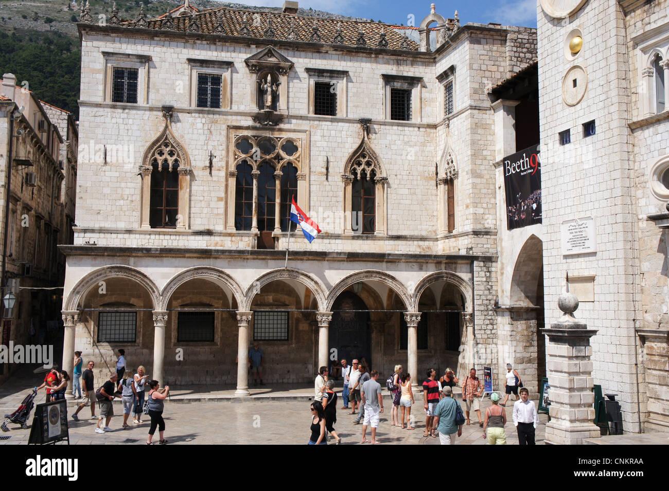 Dubrovnik, Sponza palace, Croatia - Stock Image