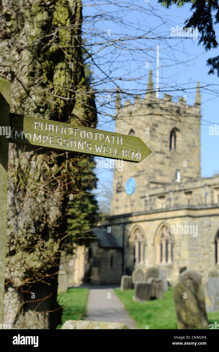 public footpath sign for Eyam Mompessons Well derbyshire england uk - Stock Image