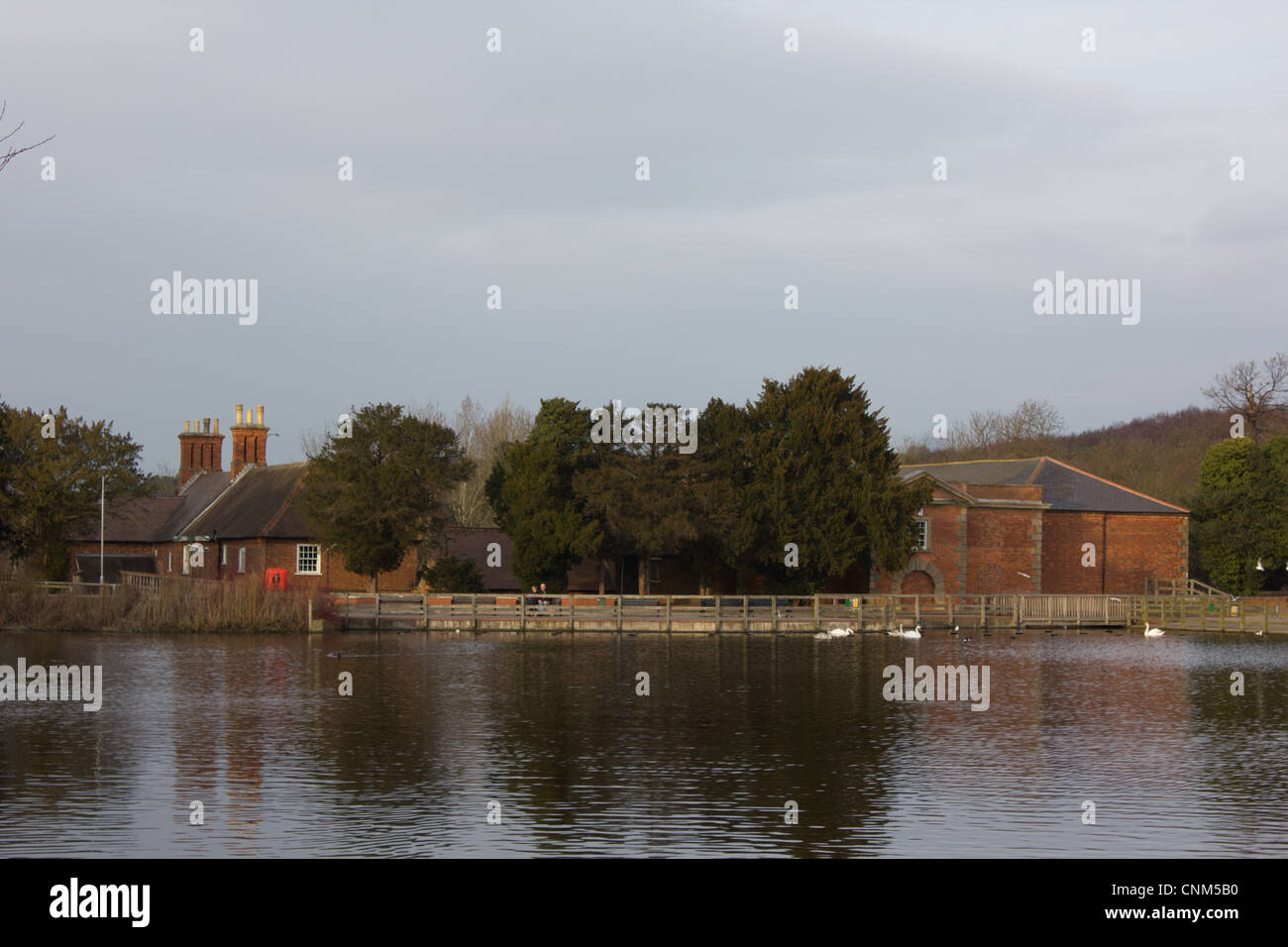 Rufford Mill over the lake - Stock Image