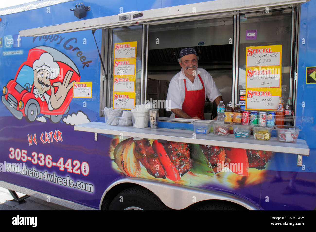 Hialeah Florida Palm Avenue Art on Palm fair festival event food truck Greek man food mobile small business owner - Stock Image