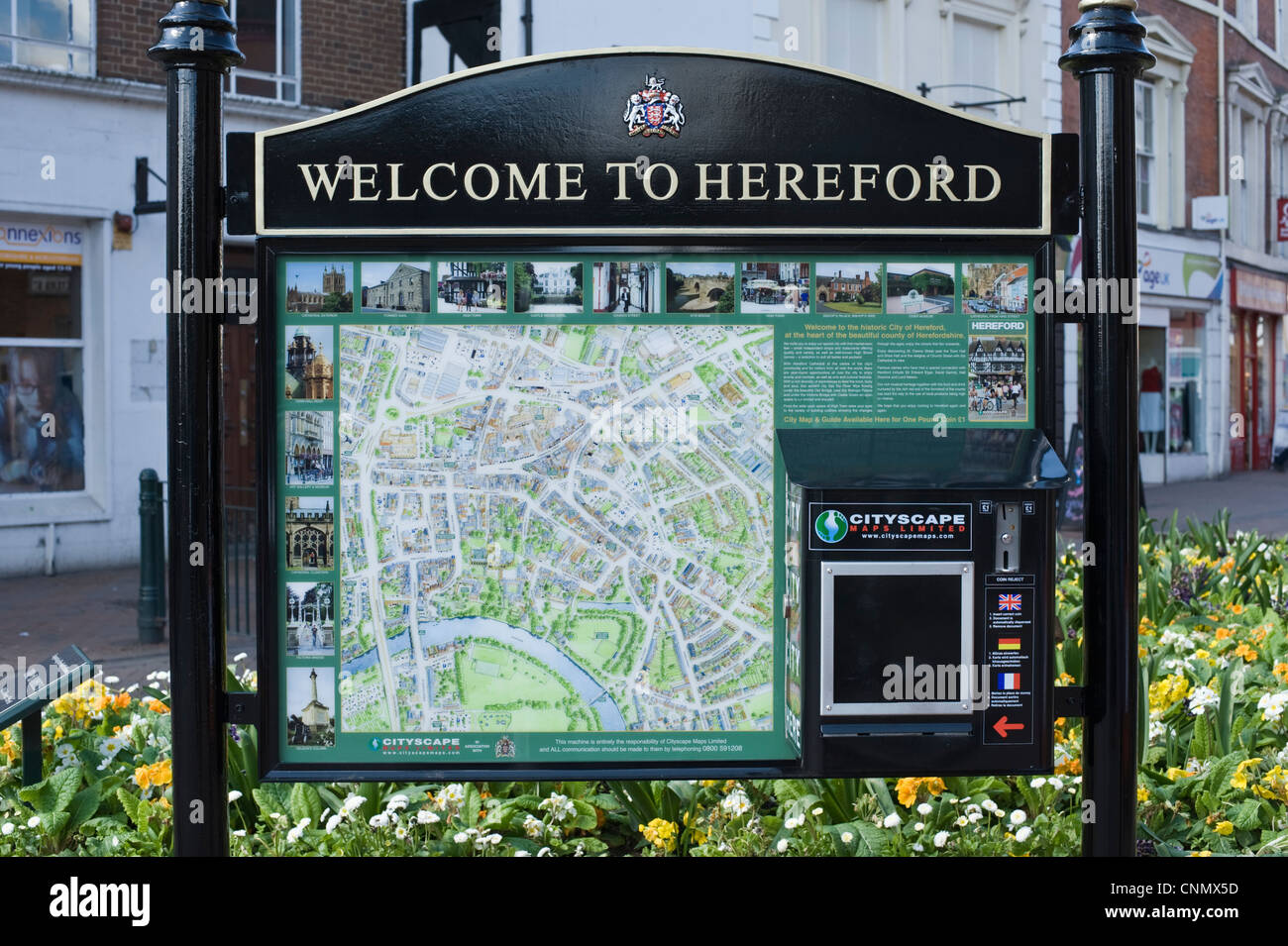 WELCOME TO HEREFORD tourist information point in city centre of