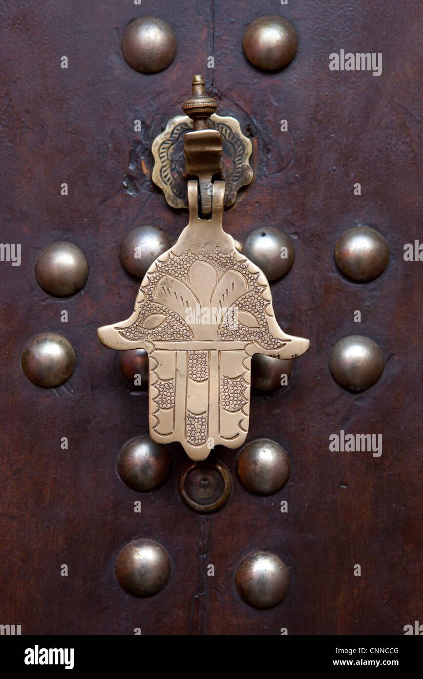 Door knocker in Marrakesh, Morocco - Stock Image