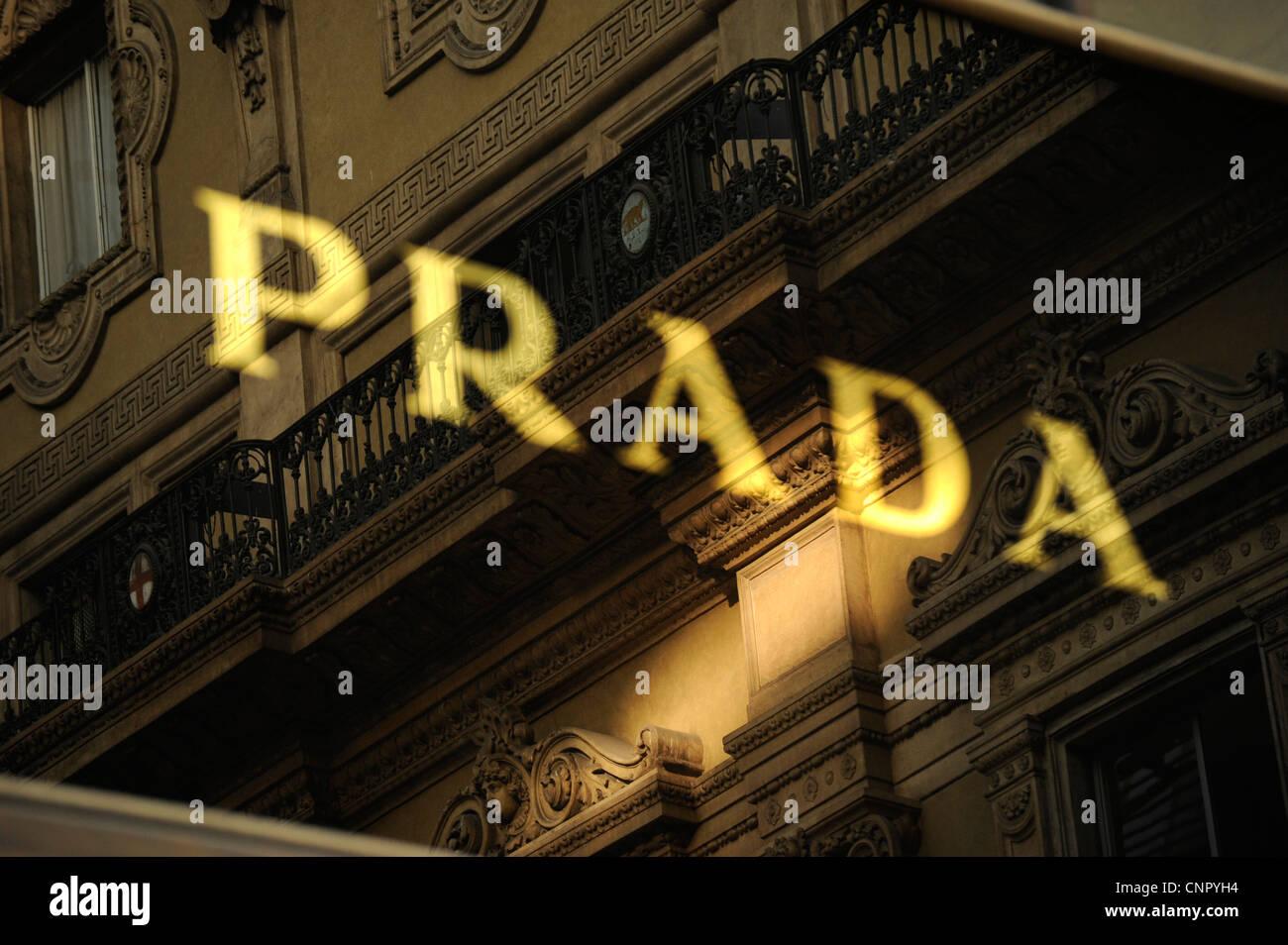 Prada shop. Galleria Vittorio Emanuele II. Milan, Italy - Stock Image