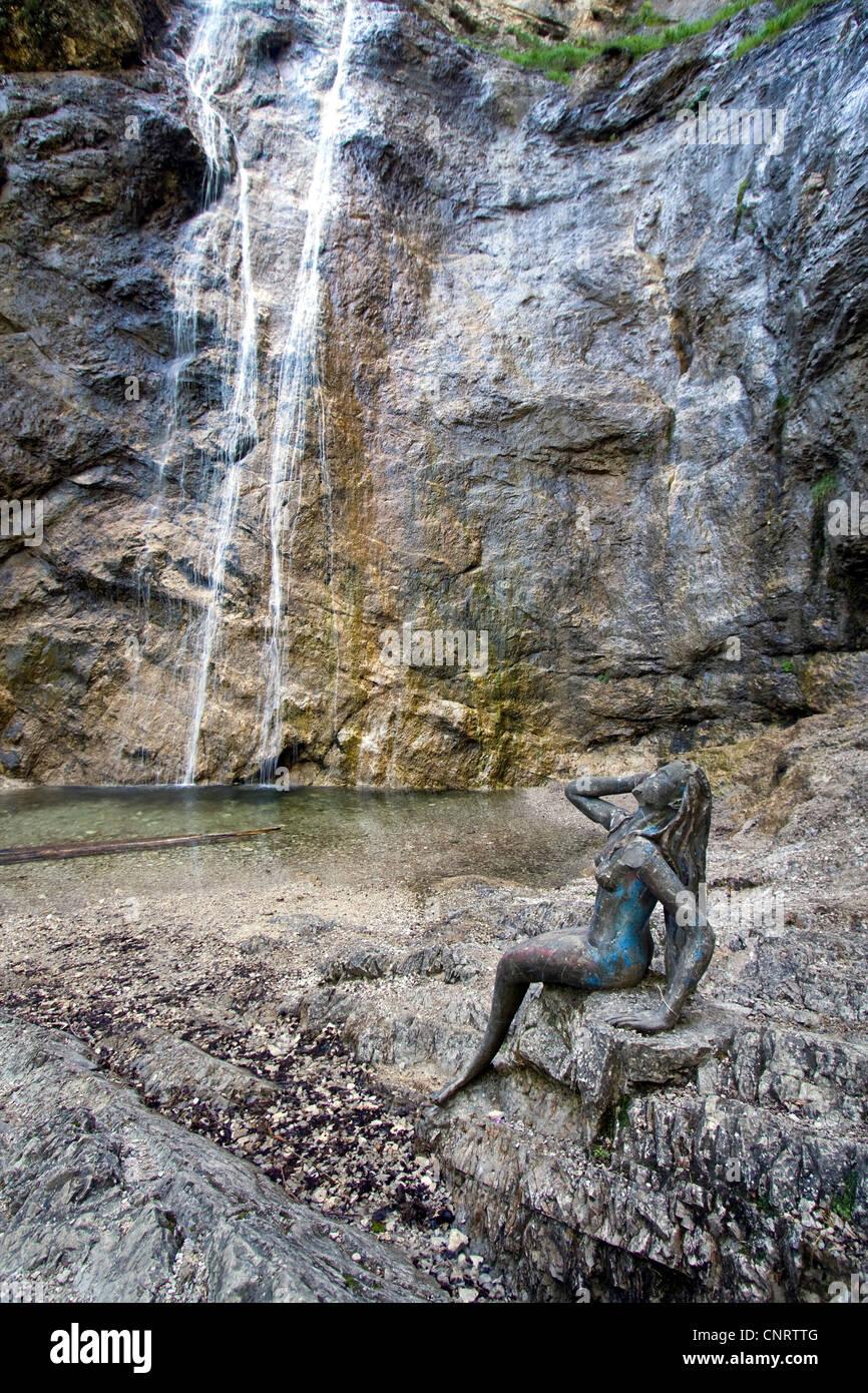 Nixen waterfall in Salzkammergut, Austria, Upper Austria, Weissenbach - Stock Image