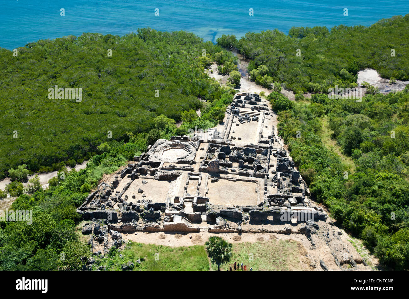 Husuni Kubwa, Sultan's palace 14th century, Kilwa Kisiwani, aerial view Lindi Region, Tanzania Stock Photo