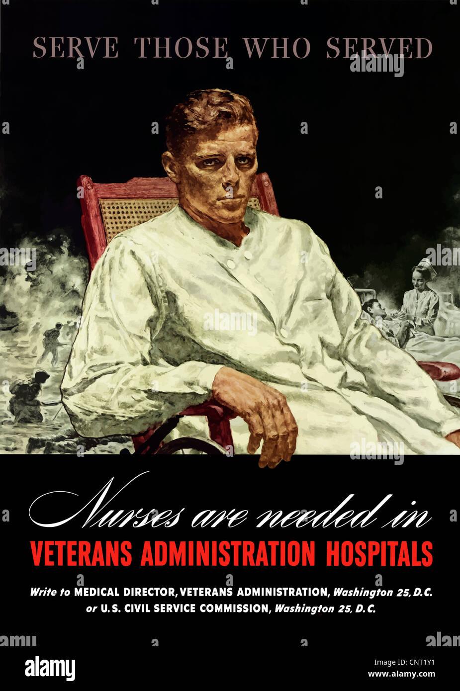 Vintage World War II poster of a war veteran in a wheelchair, a ...