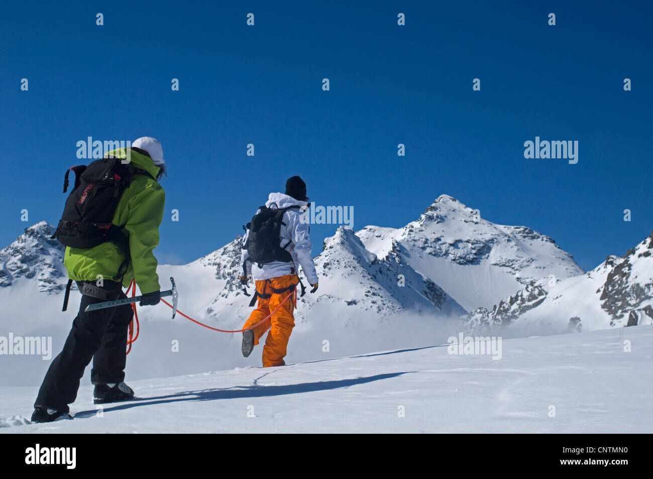 alpinism in the snow capped mountains of the Vanoise National Park, France, Savoie - Stock Image
