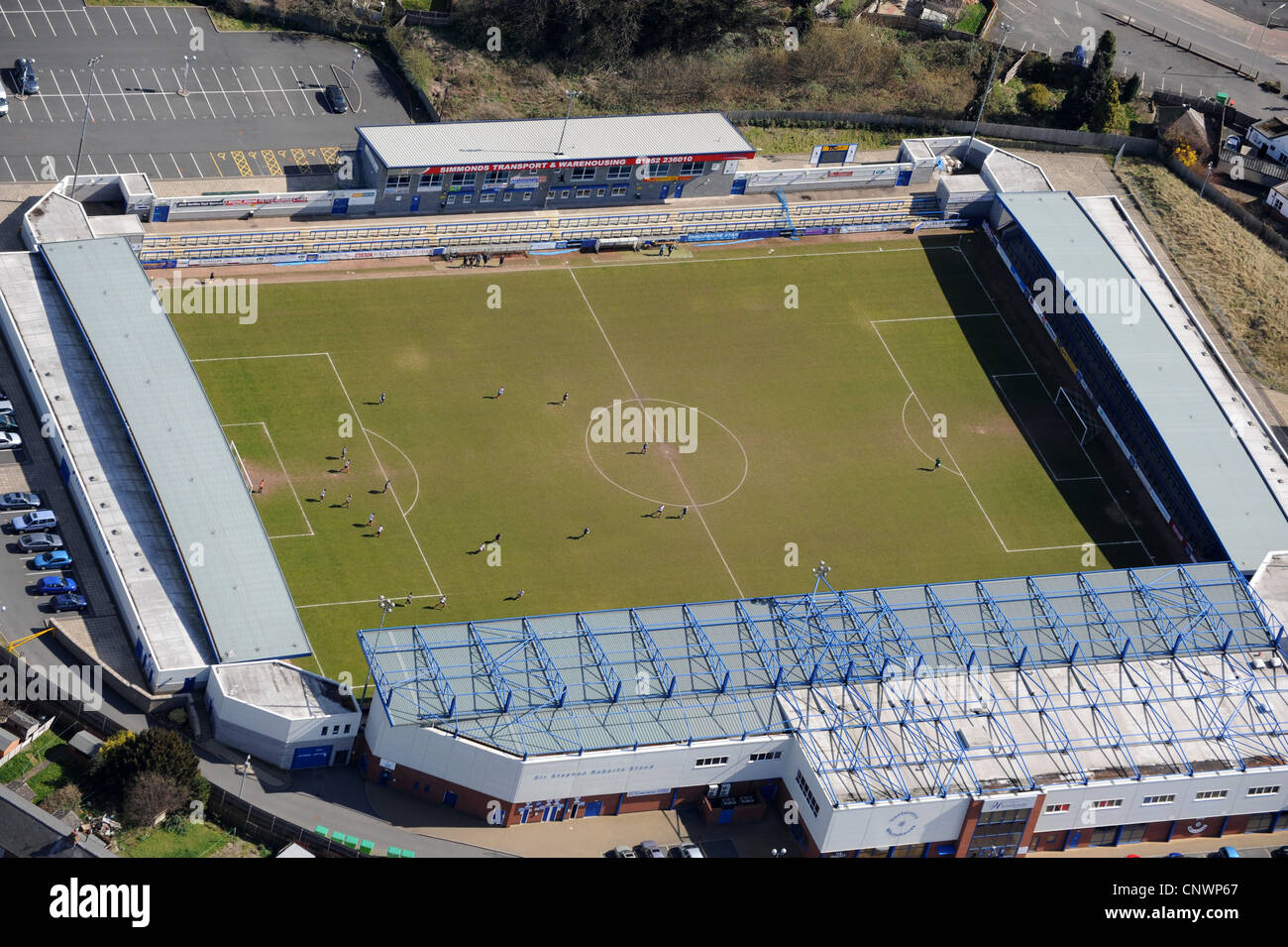 Aerial view of football match ...