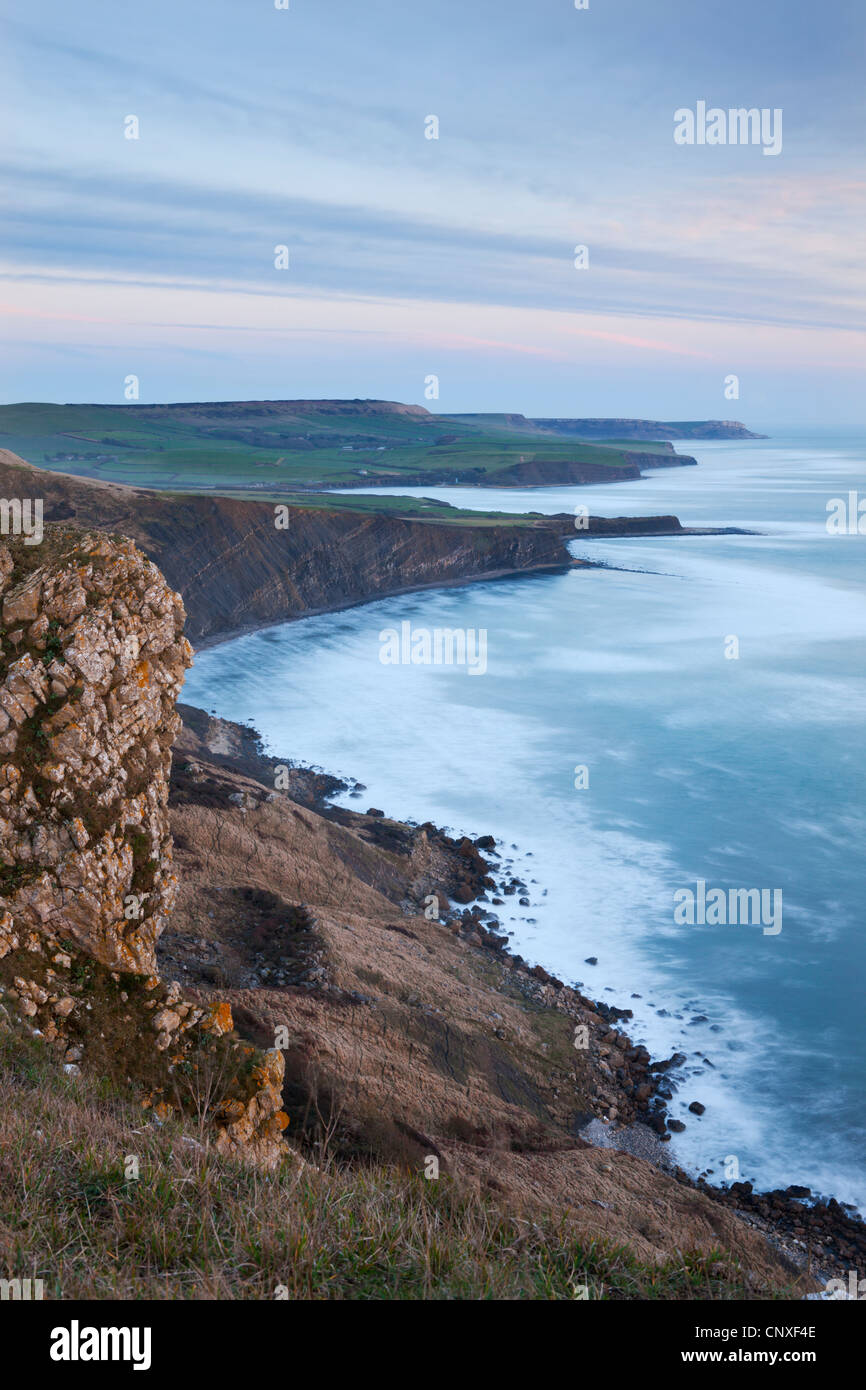 Purbeck Coastline viewed from Gad Cliff, Jurassic Coast World Heritage Site, Dorset, England. Winter (February) - Stock Image