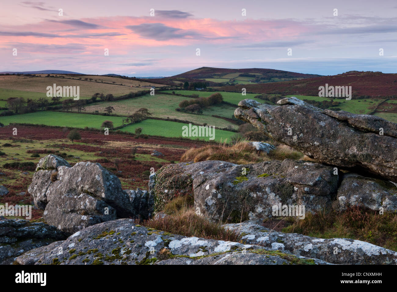 Twilight over Dartmoor countryside viewed from Hound Tor, Dartmoor, Devon, England. Autumn (October) 2011. - Stock Image
