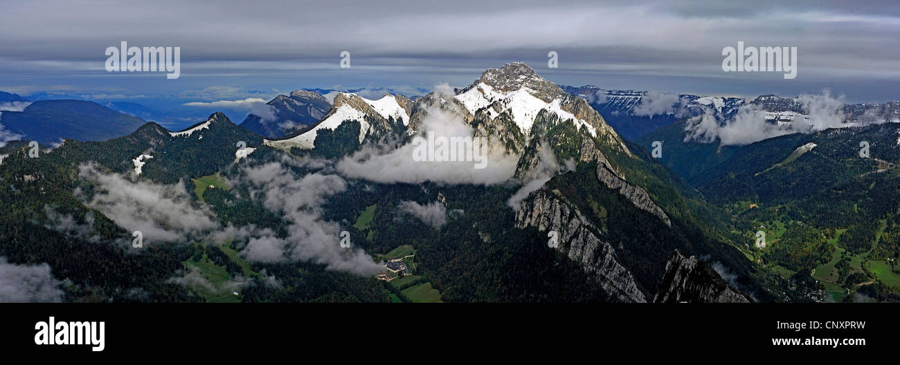 monastery of the Grande Chartreuse at the foot of the Grand Som mountain (2026 m) in the Chartreuse Mountains, France, - Stock Image