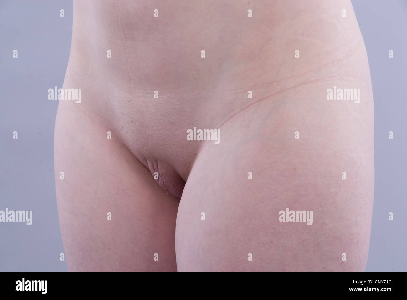 nude caucasian female with shaved vulva and prominent labia stock