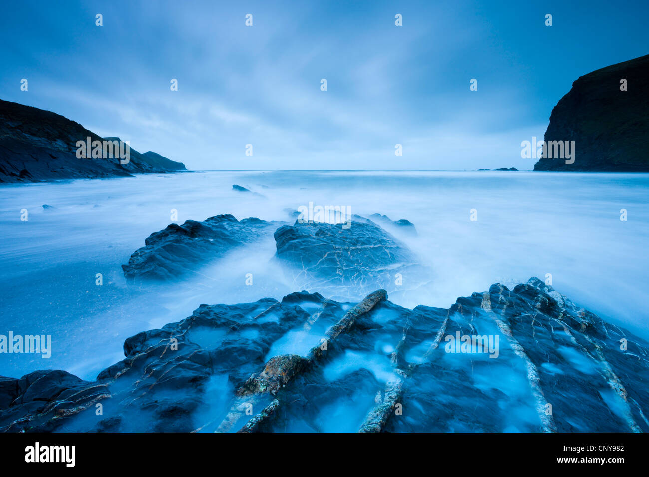 Long exposure at twilight on Crackington Haven beach on North Cornwall, England. March 2009 - Stock Image