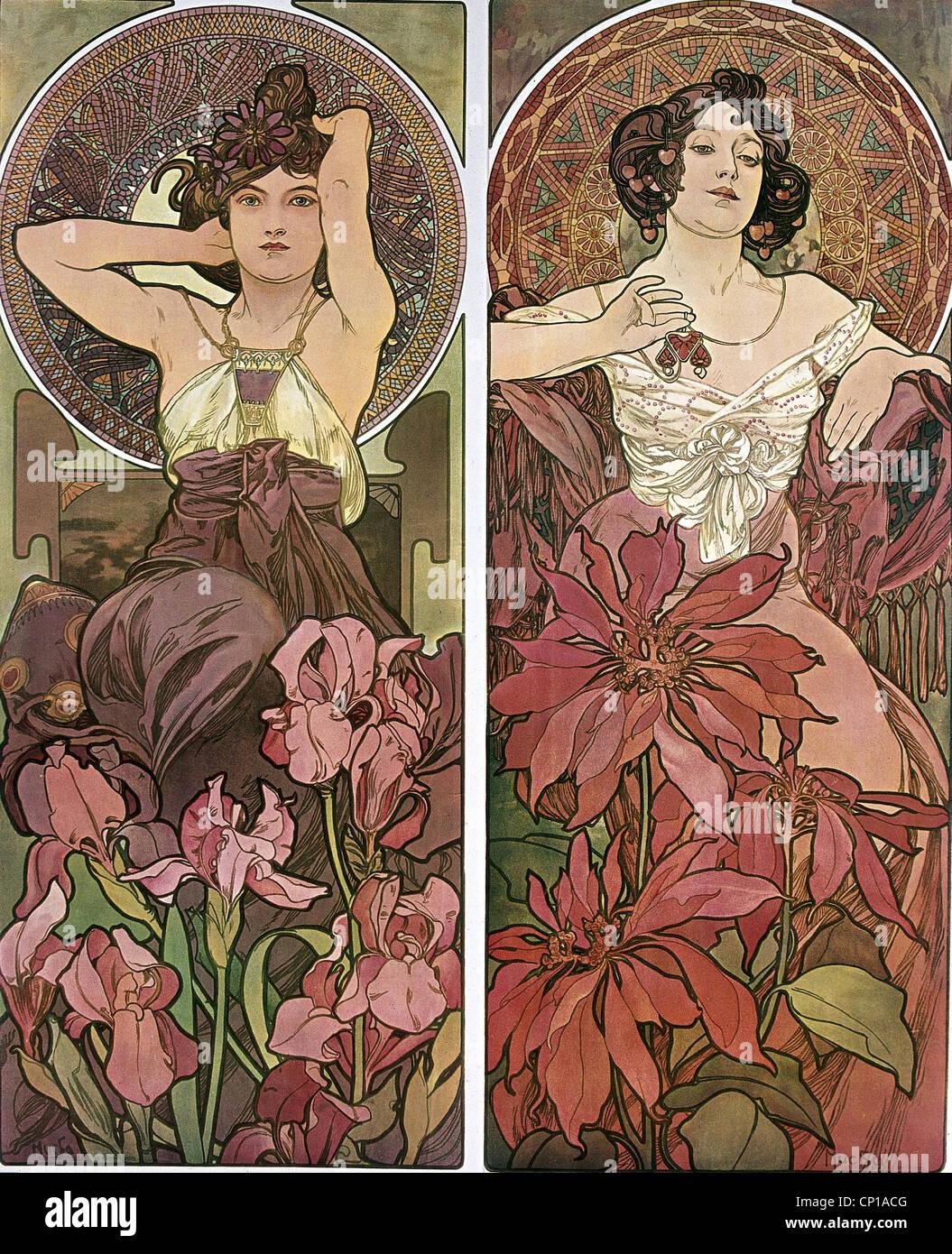 fine arts, Mucha, Alfons (1860 - 1939), poster, circa 1900, two women, sitting, flowers, hair, Art Nouveau, Alphonse, Stock Photo