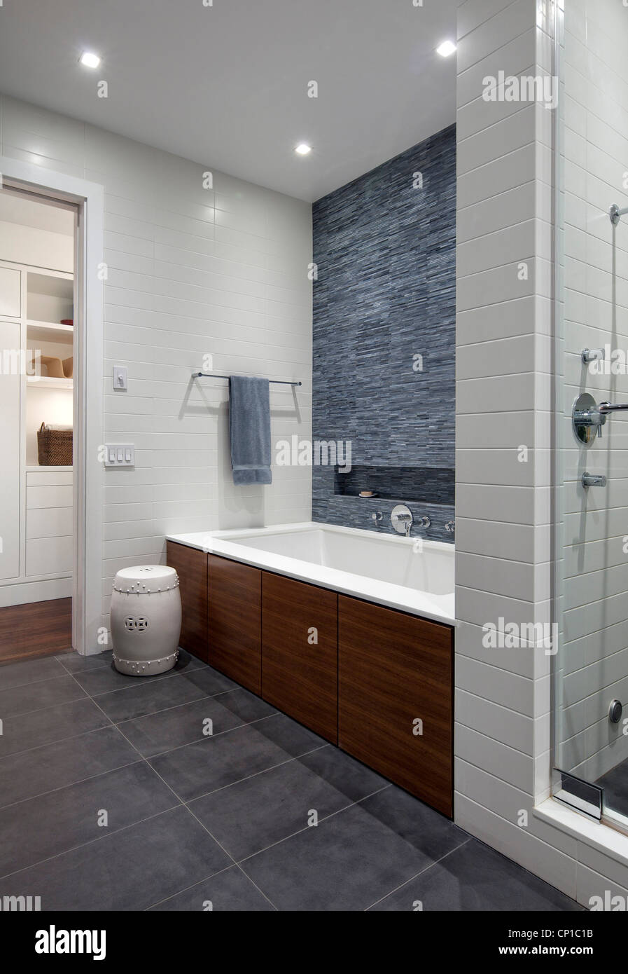 Bath and blue tile wall with view to hallway, New York, USA Stock ...