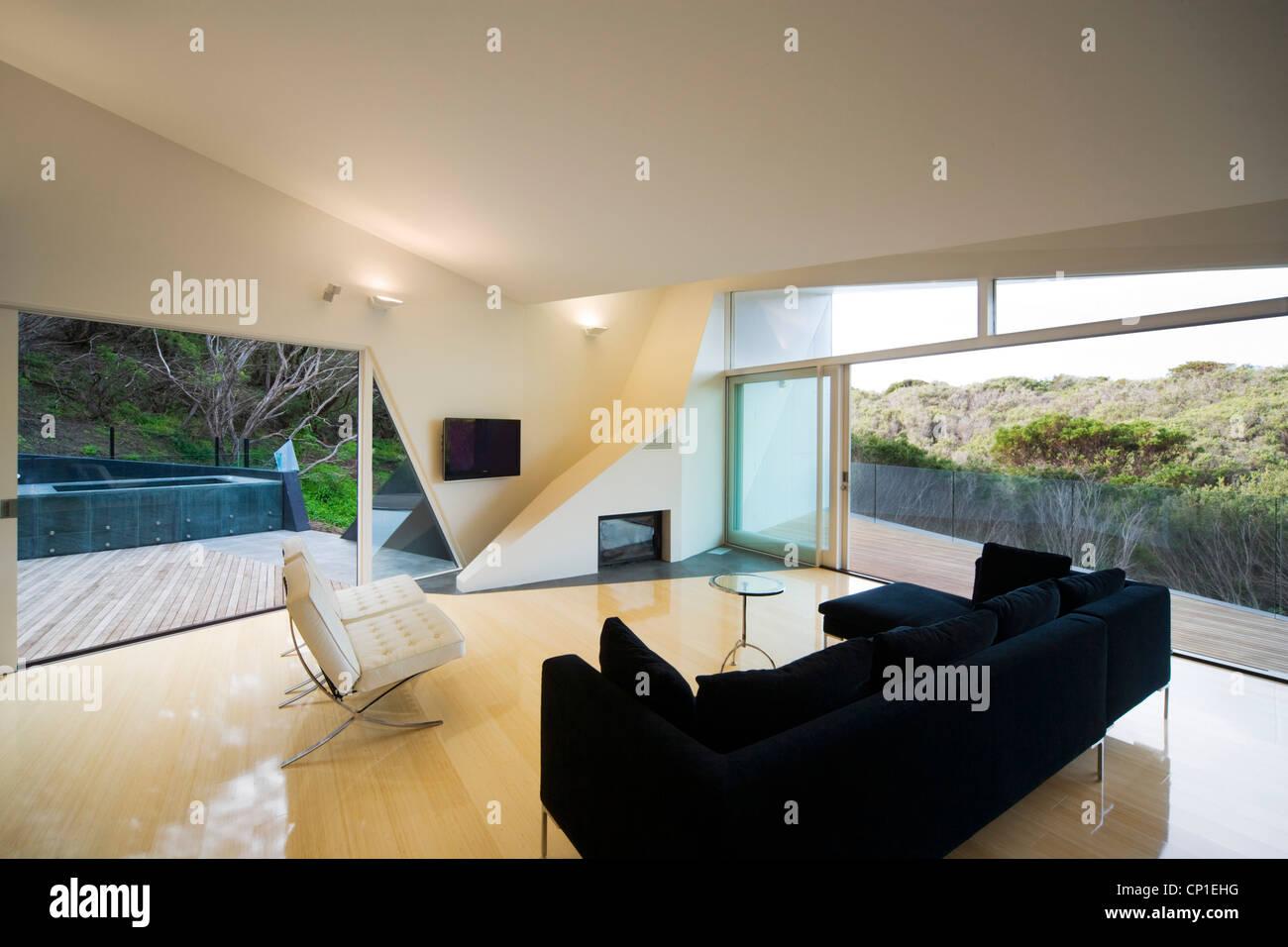 Geometric Living Room In Klein Bottle House Rye Victoria Stock - Klein-bottle-house-by-mcbride-charles-ryan