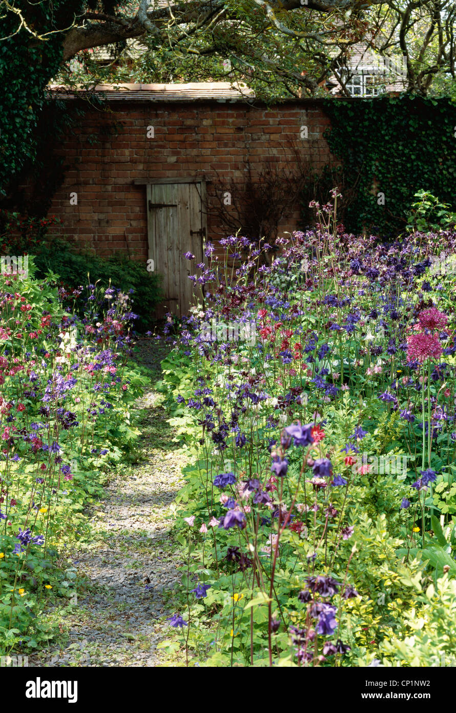 Aquilegia Border And A False Door And Frame Against A Wall. Bryanu0027s Ground,  Stapleton