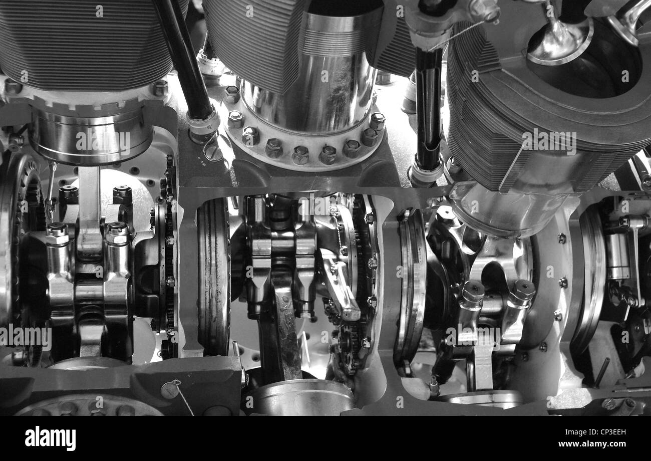 A detail study of the inner workings of an internal combustion engine. - Stock Image