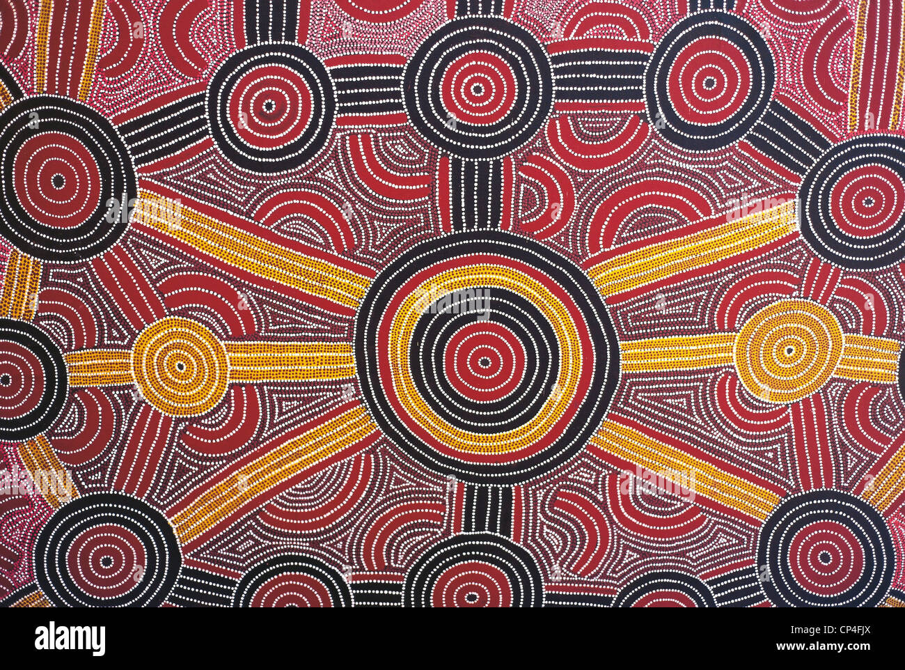 Australia - Uluru-Kata Tjuta National Park. Aboriginal painting in the hotel Sheraton. Stock Photo
