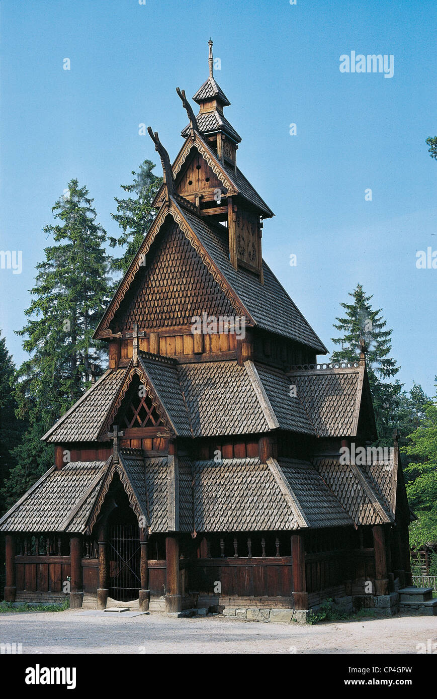 Norway - Oslo - Norwegian Folk Museum (Norsk Folkemuseum), outdoor ethnographic museum. Wooden church: Gol stave - Stock Image