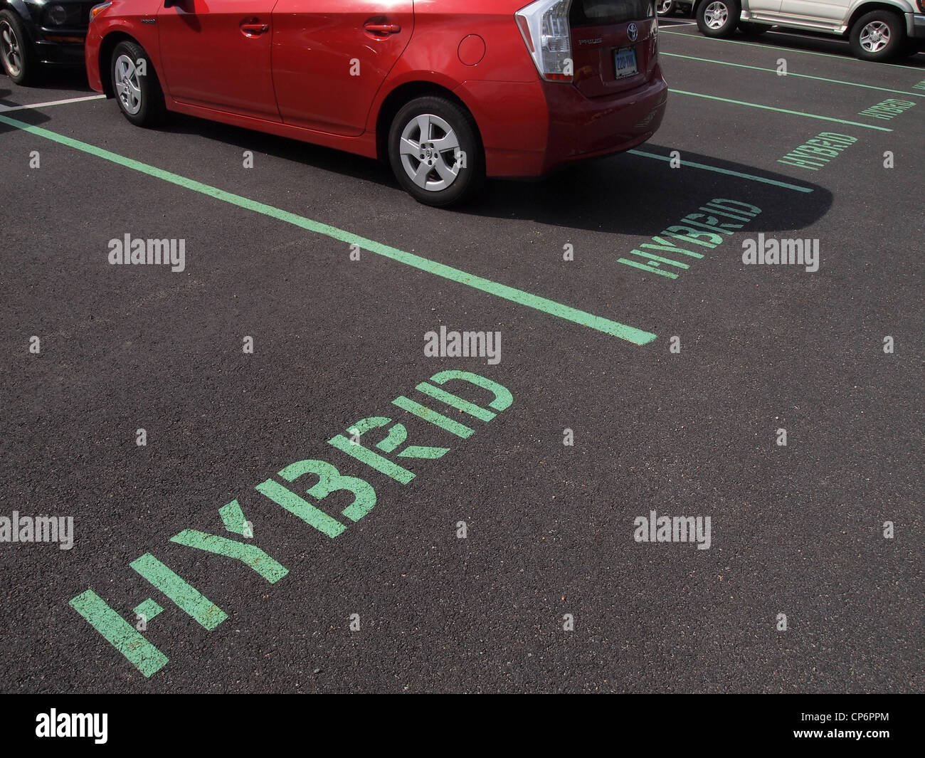 Toyota Prius parked in a space reserved for hybrid vehicles, New York, United States, March 8, 2012, © Katharine - Stock Image