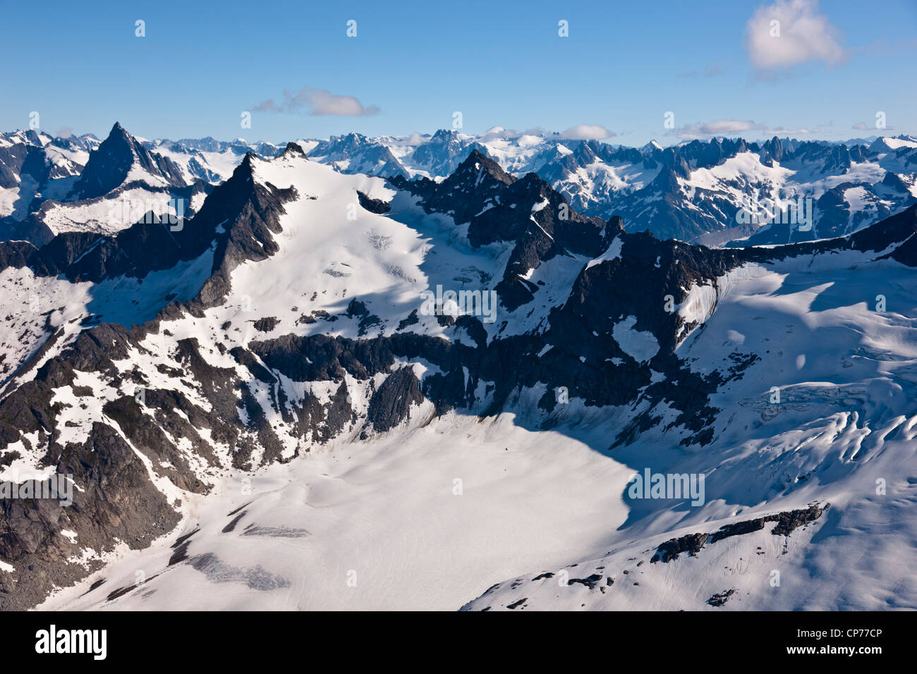 Aerial view of mountains and glaciers in the Coastal Mountain Range north of Haines, Southeast Alaska, Summer - Stock Image