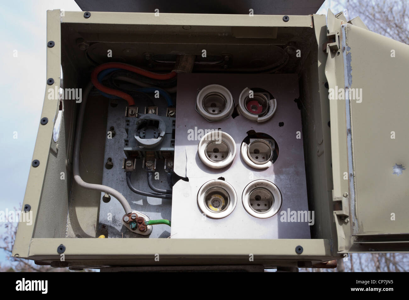 old empty fuse box - Stock Image