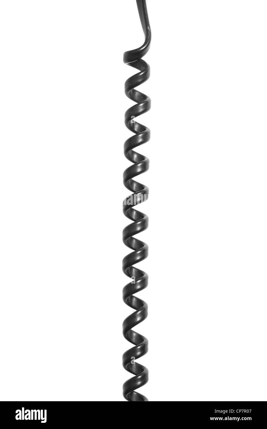 A telephone cord isolated on white - Stock Image