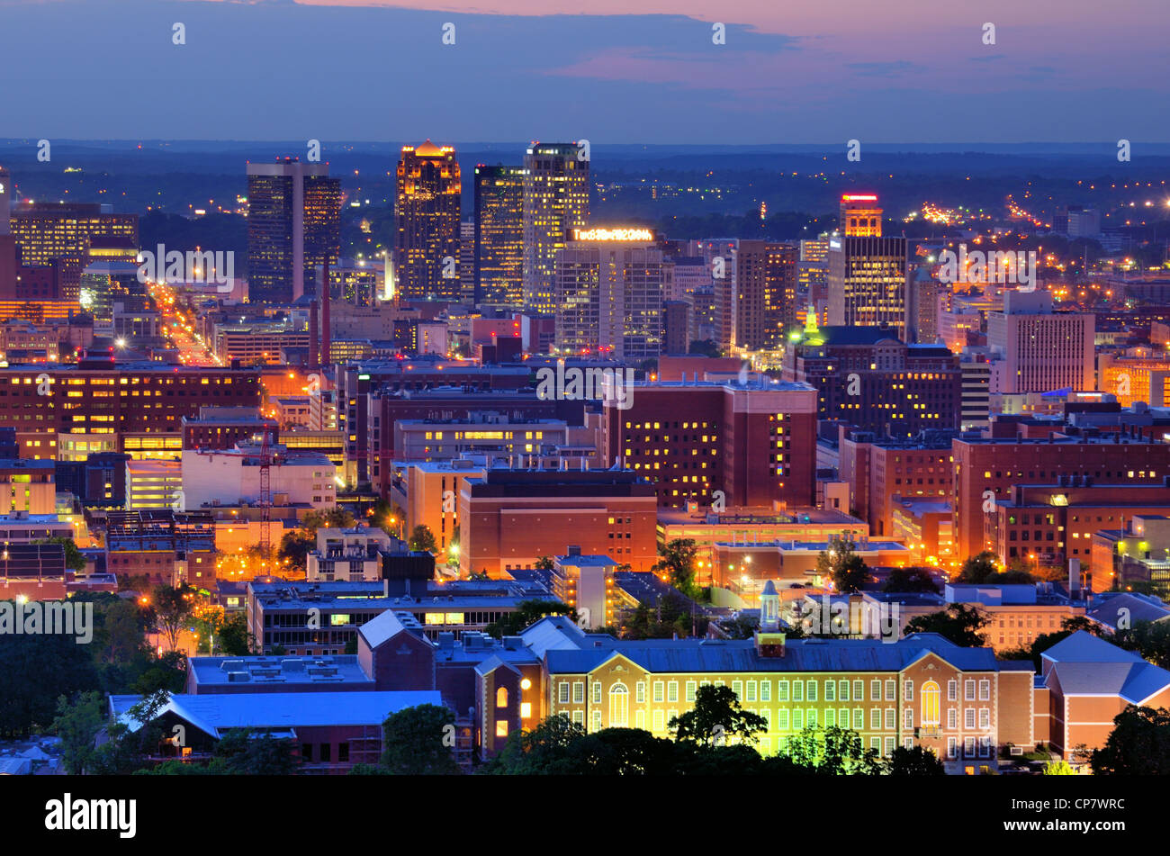 Downtown skyline of Birmingham, Alabama, USA at night. - Stock Image