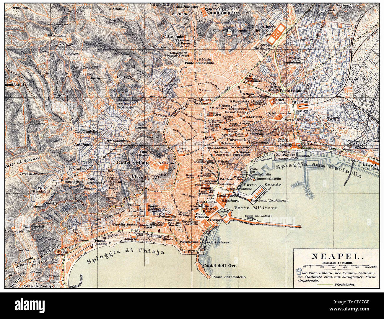 Historical map of Naples and surroundings, Italy, 19th Century Stock ...