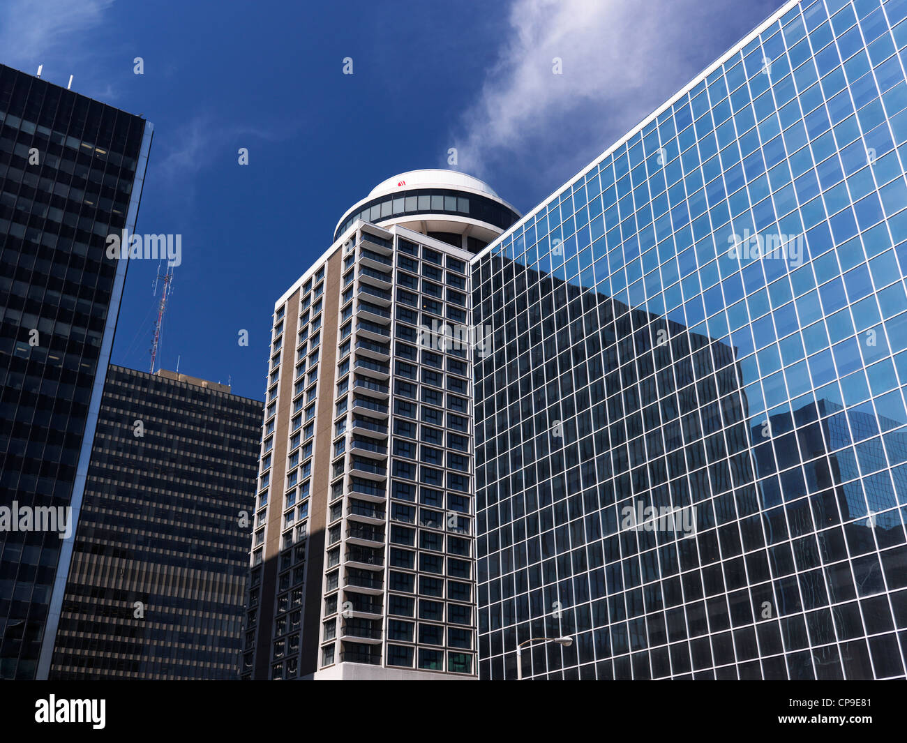 Downtown Ottawa towers. C. D. Howe Building and Marriott Hotel under blue sky. Ontario, Canada. - Stock Image
