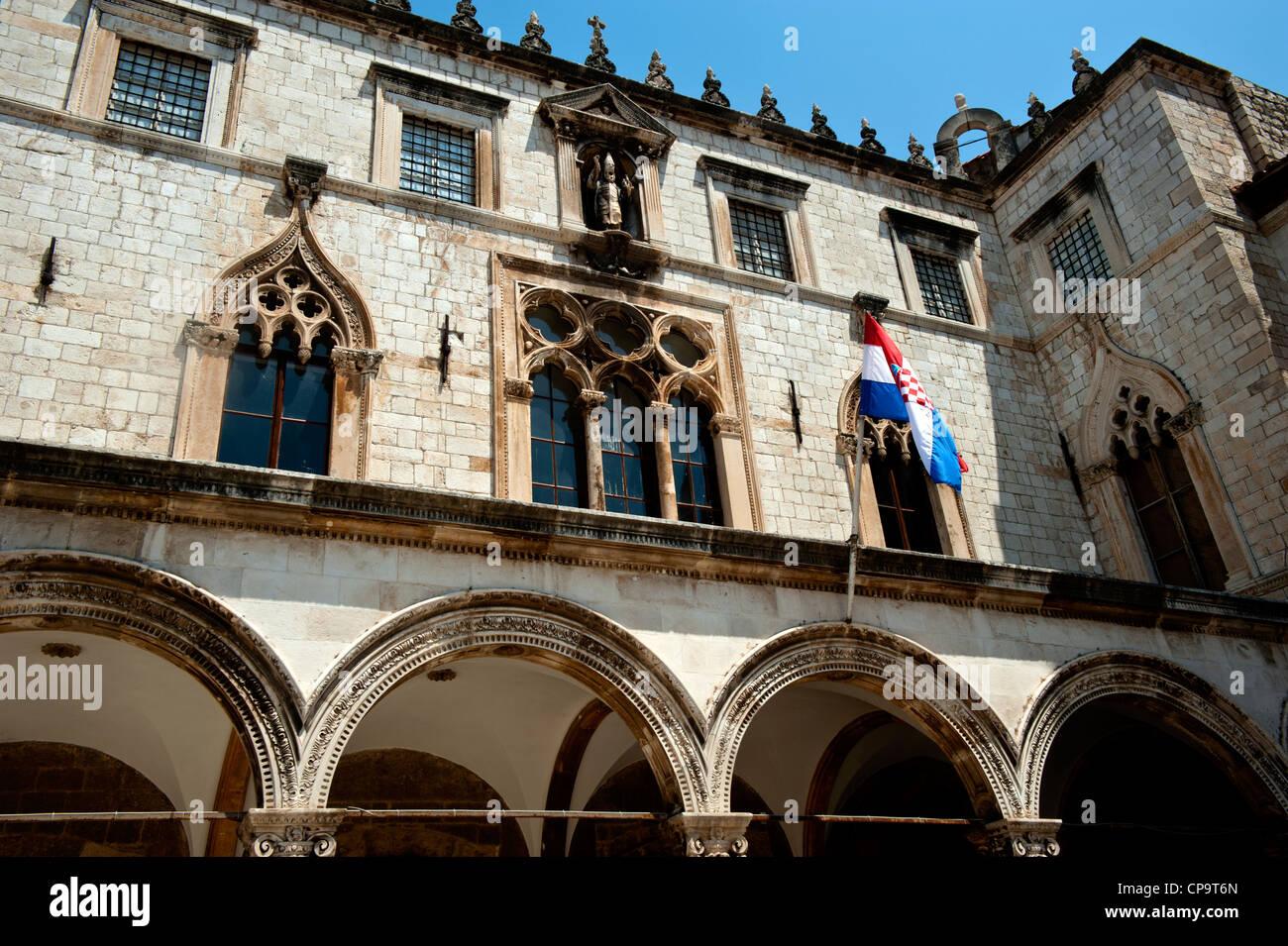 The Sponza Palace hosting the Memorial Room of Dubrovnik Defenders, boulevard Stadrun , Old Town, Dubrovnik. Croatia. - Stock Image