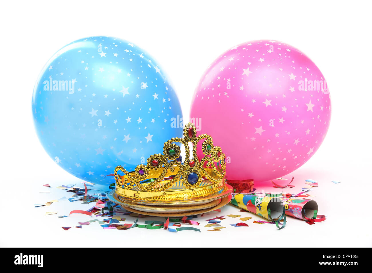 birthday party decorations on white background stock photo 48163488