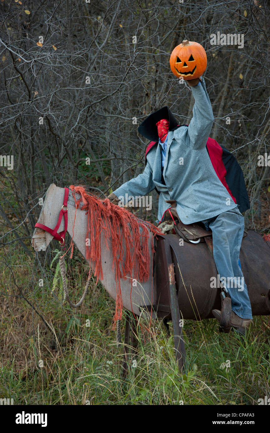 USA, Colorado, Crystal River Valley. Roadside Halloween display of a manikin on a horse - Stock Image
