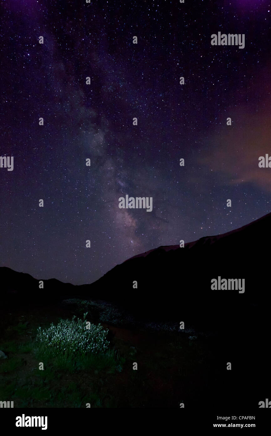 USA, Colorado, Loveland Pass. The Milky Way glows in the night sky on the Continental Divide - Stock Image