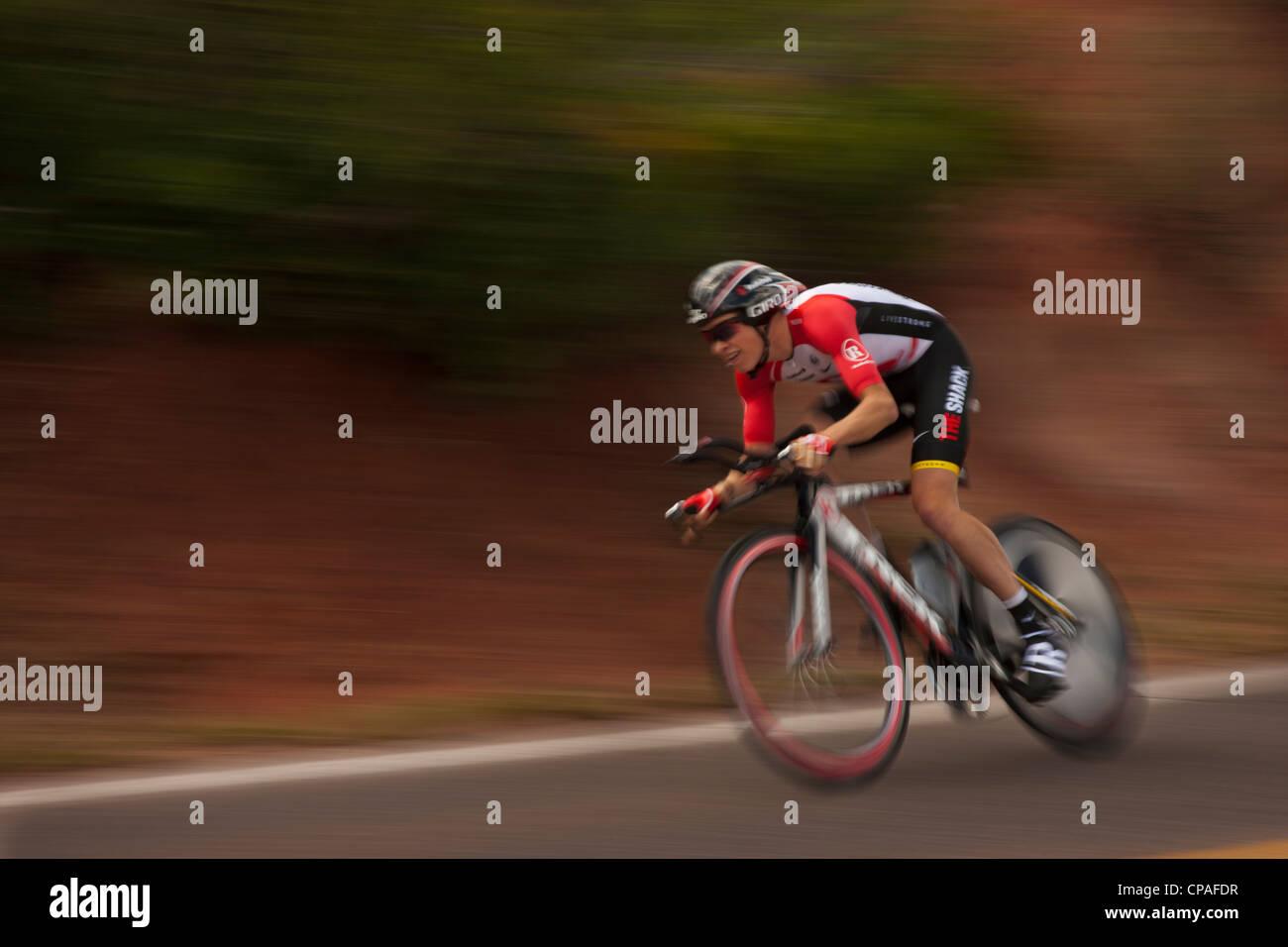 USA, Colorado, Colorado Springs, Garden of the Gods. Benjamin King,Team Radio Shack in the 2011 USA Pro Cycling - Stock Image