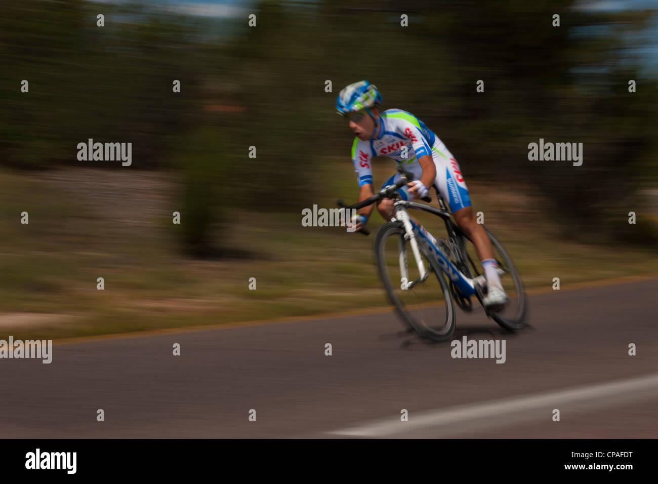 USA, Colorado, Colorado Springs, Garden of the Gods. Thomas Bonnin,competes in the inaugural 2011 USA Pro Cycling - Stock Image