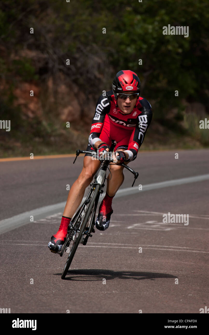 USA, Colorado, Colorado Springs, Garden of the Gods Chad Beyer of BMC Bicycle Racing Team competes in the 2011 USA - Stock Image