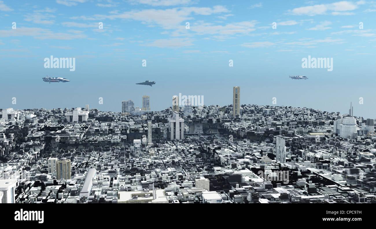 Futuristic Science Fiction Cityscape - Stock Image