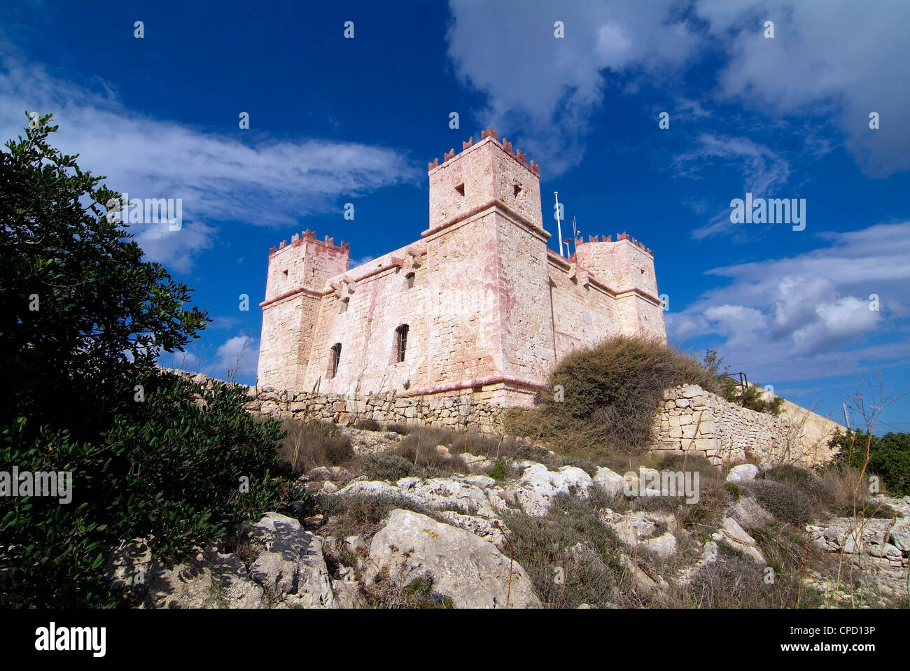 Red Tower, Marfa Ridge, Malta, Mediterranean, Europe - Stock Image