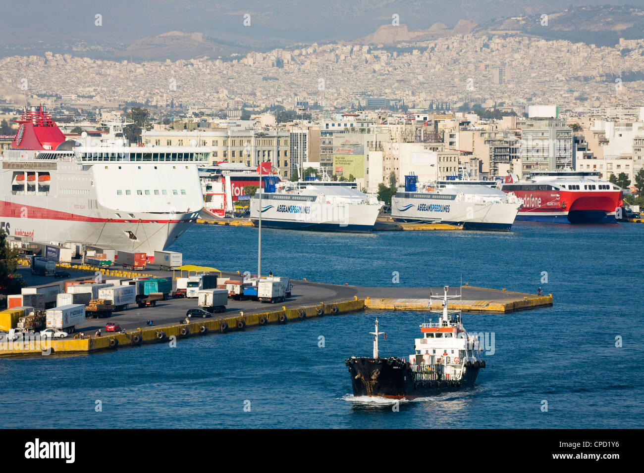 Shipping in the Port of Piraeus, Athens, Greece, Europe - Stock Image