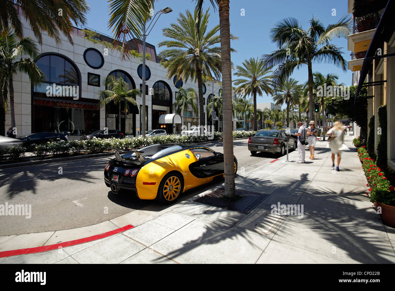 Luxury car parked on Rodeo Drive, Beverly Hills, Los Angeles, California, United States of America, North America - Stock Image