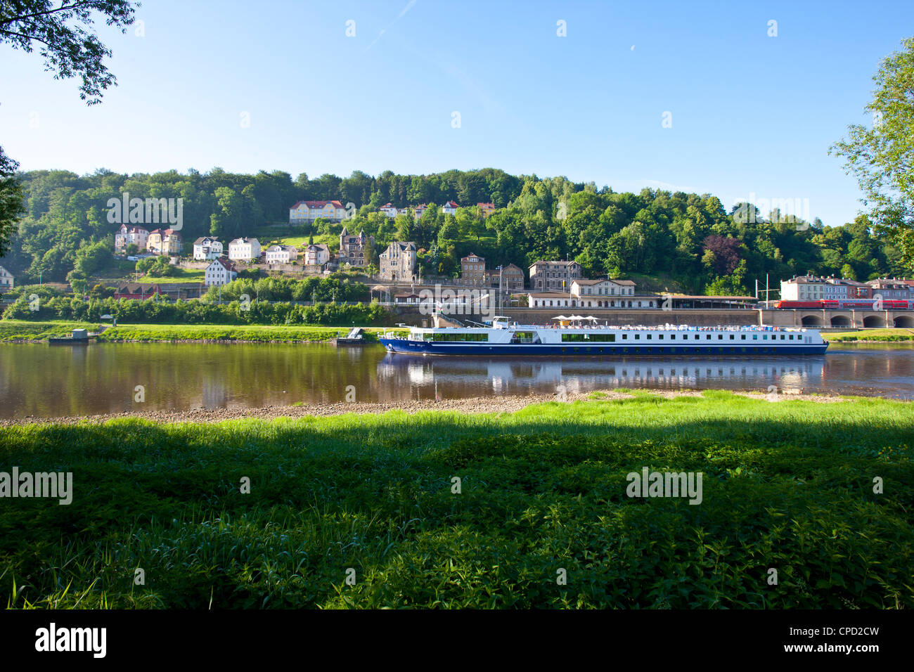 Cruise ship floating along the River Elbe, Saxony, Germany, Europe - Stock Image