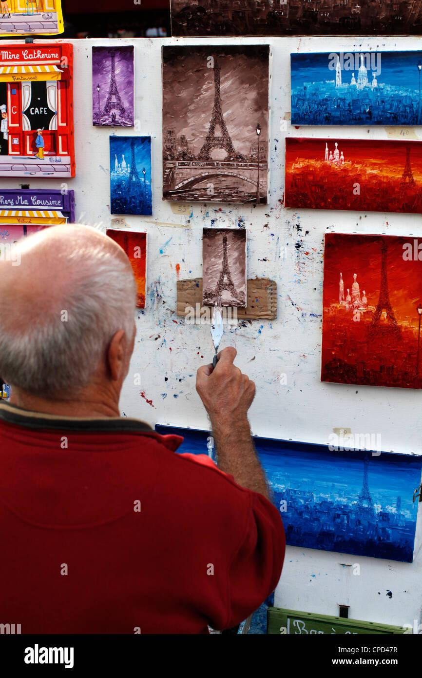 Painter at the Place du Tertre, Montmartre, Paris, France, Europe - Stock Image
