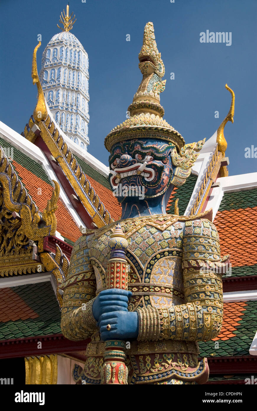 Statue of demon guardian, Wat Phra Kaeo Complex (Grand Palace Complex), Bangkok, Thailand, Southeast Asia, Asia - Stock Image